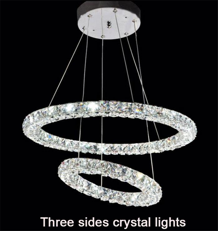 Modern 2 rings LED crystal chandeliers lights three sides restaurant 2 circles diamond home lighting decorativas