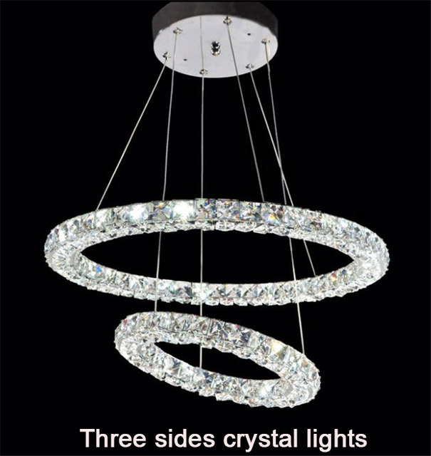 Modern 2 Rings Led Crystal Chandeliers Lights Three Sides Restaurant Circles Diamond Home Lighting Decorativas