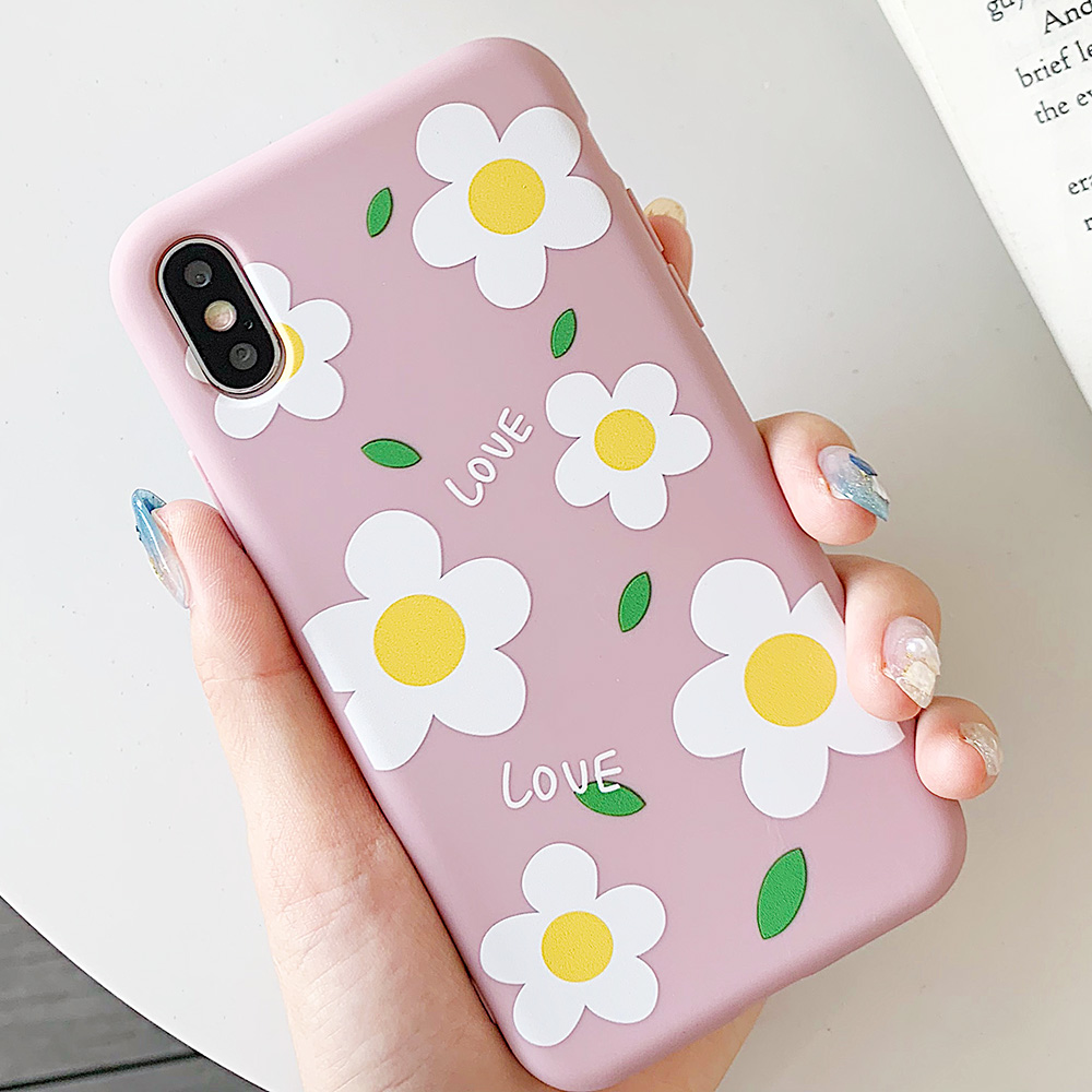 KIPX1113_2_JONSNOW Matte Phone Case for iPhone 6S 6P 7 8 Plus Small Daisy Pattern Soft Silicone Cases for iPhone X XR XS Max Capa Fundas