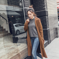 UNIQUEWHO Women Dark Brown Long Sweater Coats Loose Casual Cardigans Streetwear Spring Winter Fashion Warm Soft Wool Sweaters