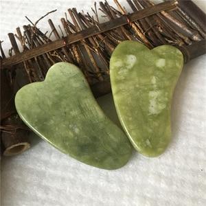 Natuurlijke Jade Schrapen Board Facial Massager Druk Therapie Schraper Gezondheidszorg Beauty Massage Tool Voor Gezicht(China)
