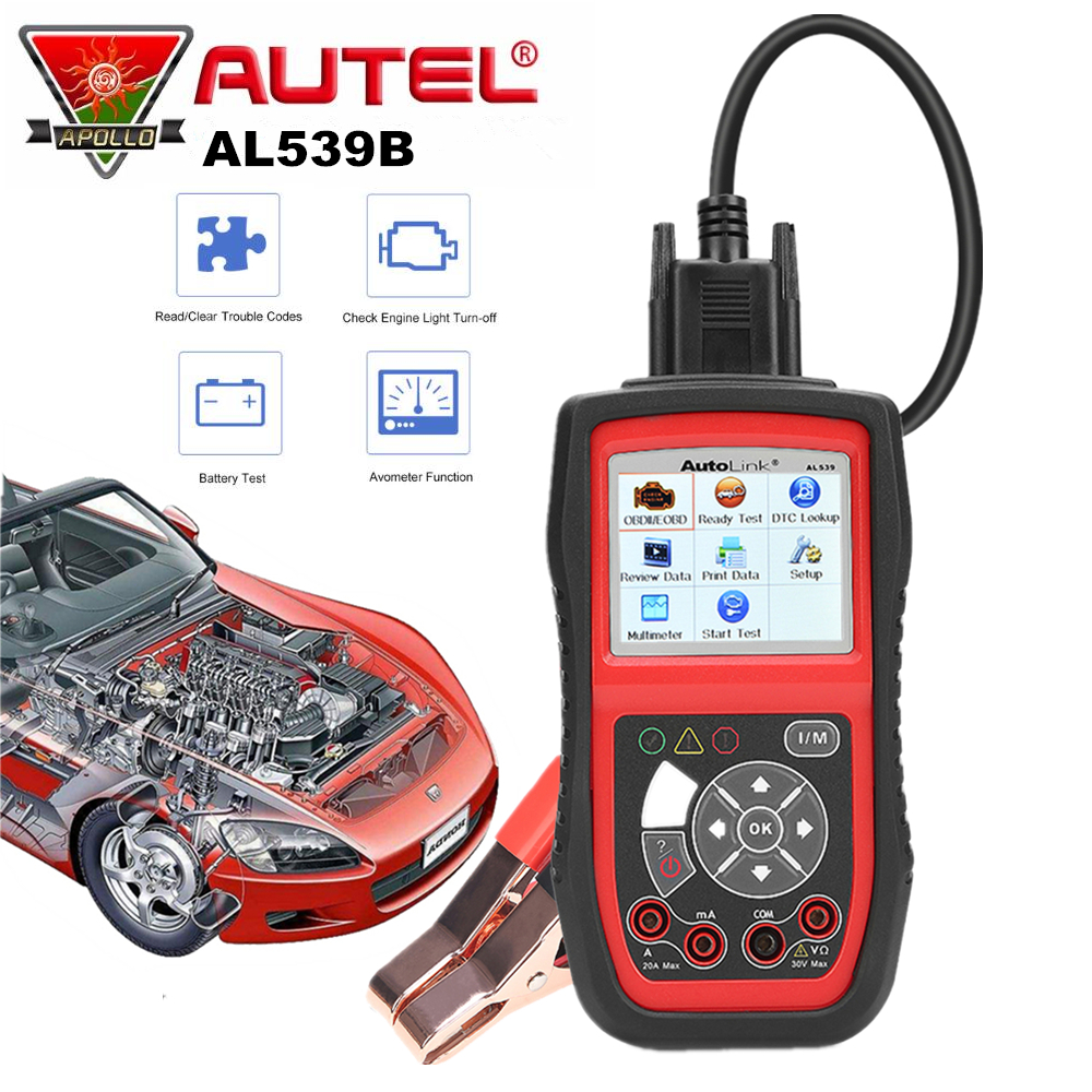 Autel AutoLink AL539B OBD2 Code Reader OBDII CAN Scanner Auto Diagnostic Tool Circuit and Battery Test Car Electrical Tester 2016 new arrival vs 890 obd2 car scanner scantool obdii code reader tester diagnostic tools 3 inch lcd car detector