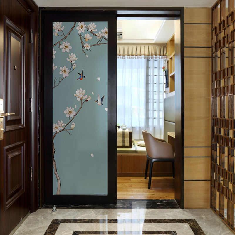 Cellophane paper electrostatic foil translucent opaque window sticker  living room sliding door frosted glass paste
