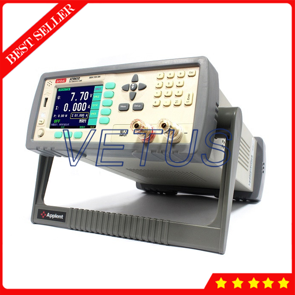 AT8612 Programmable DC Electronic Load 3.5 inches True Color LCD with 300W 150V 30A CC CV CP CR Handler Battery Test Max.999AH