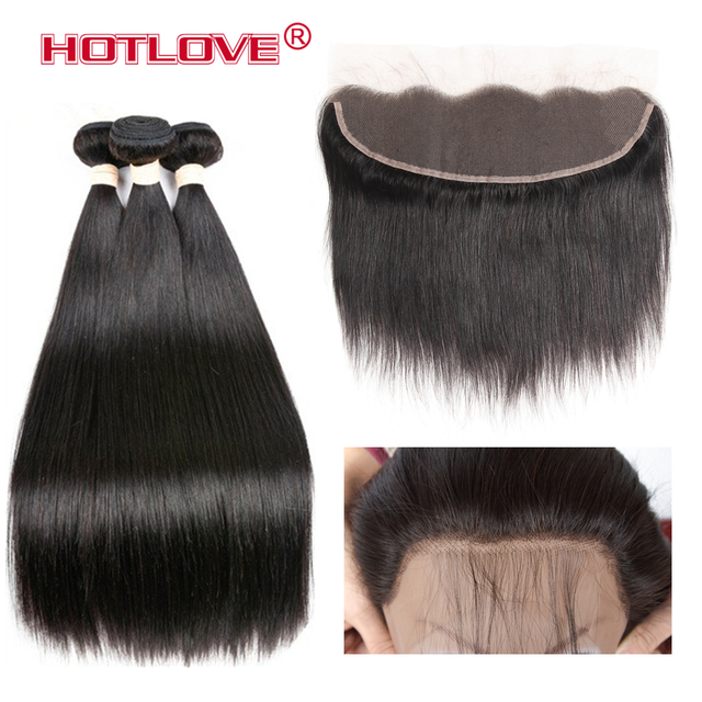 Brazilian Straight Hair 3 Bundles With Frontal Closure Pre Plucked Non Remy 100% Human Hair Weave Bundles With Frontal Closure
