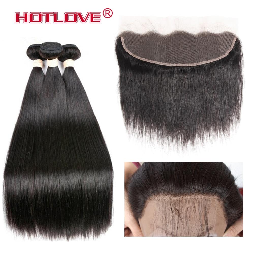 HOTLOVE rambut lurus Brazil 3 kumpulan dengan Frontal 13x4 pra - Rambut manusia (untuk hitam)