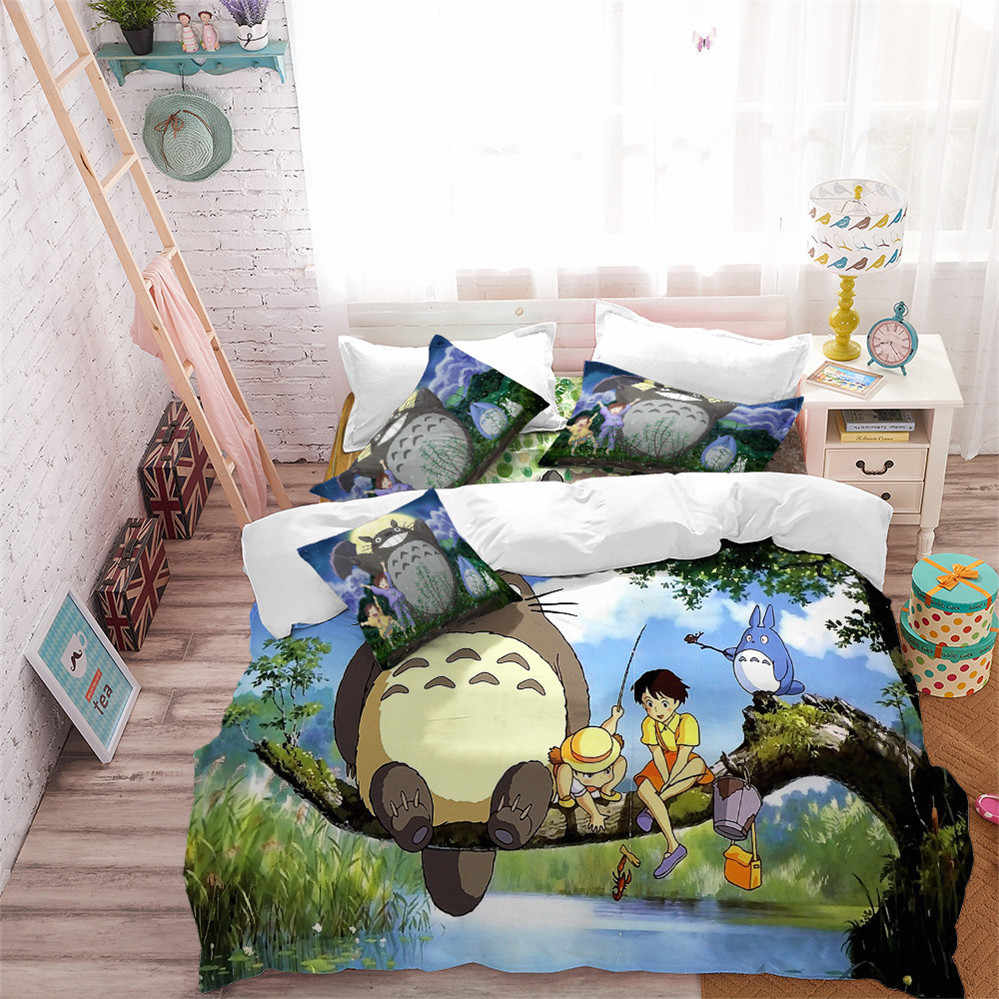 Cartoon Totoro Bedding Set Child Tree Print Duvet Cover Set Green Nature Scenery Bedding King Queen Pillowcase Home Decor D49