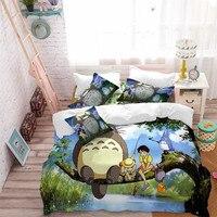 Cartoon Totoro Bedding Set Child Tree Print Duvet Cover Set Green Nature Scenery Bedding King Queen Pillowcase Home Decor D49