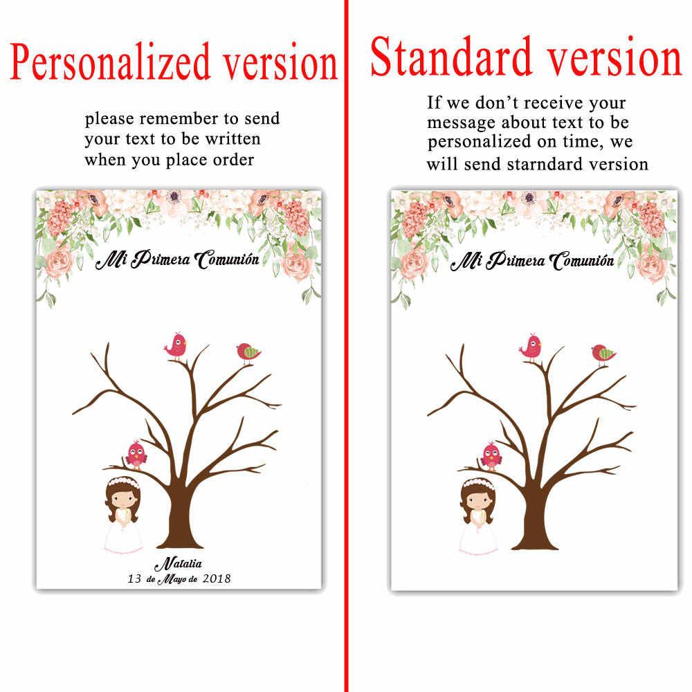 Primera Comunion Mi personalizado DIY Impressão Digital Livro de Visitas Meninos Meninas Primeira Comunhão Partido Lembrança Decoração Almofada de Tinta Incluídos