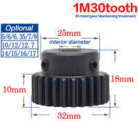 1M30Teeth Spur Gear Pinion Metal Steel Gear Major Gear Rack Transmission RC Fixed Bore Dia 5/6/6.35/7/8/10/12/12.7/14/15/16/17mm
