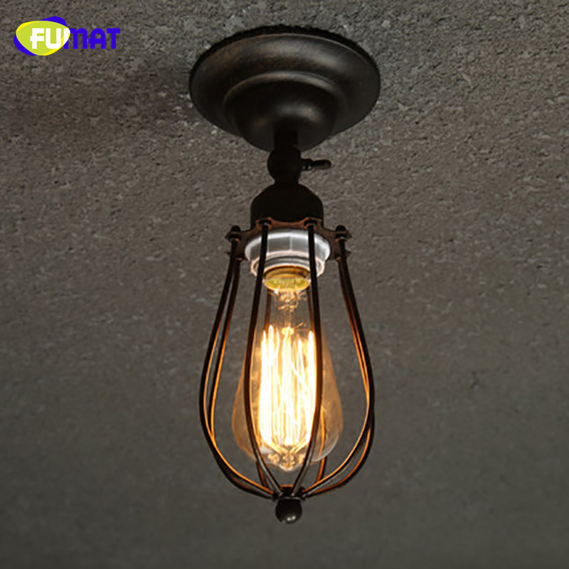 FUMAT American Country Industrial LOFT Ceiling Light Restaurant Balcony Ceiling Lamp Corridor Porch Edison Bulb Ceiling Light loft style metal cage ceiling lights hotel corridor creative ceiling lamps restaurant aisle balcony kitchen for home lighting