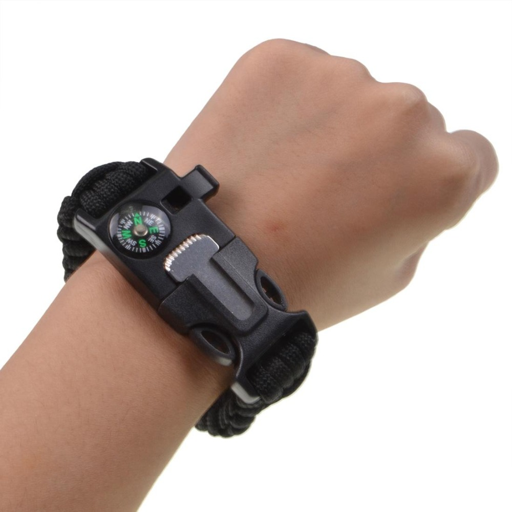 Protection Paracord Bracelet Survival  Embedded Compass, Fire Starter, Emergency Knife & Whistle  Hiking Gear- Camping Gear