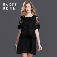 Darcydebie the new summer 2017 hollow-out tassel short-sleeved dress Europe and the United States women's quality
