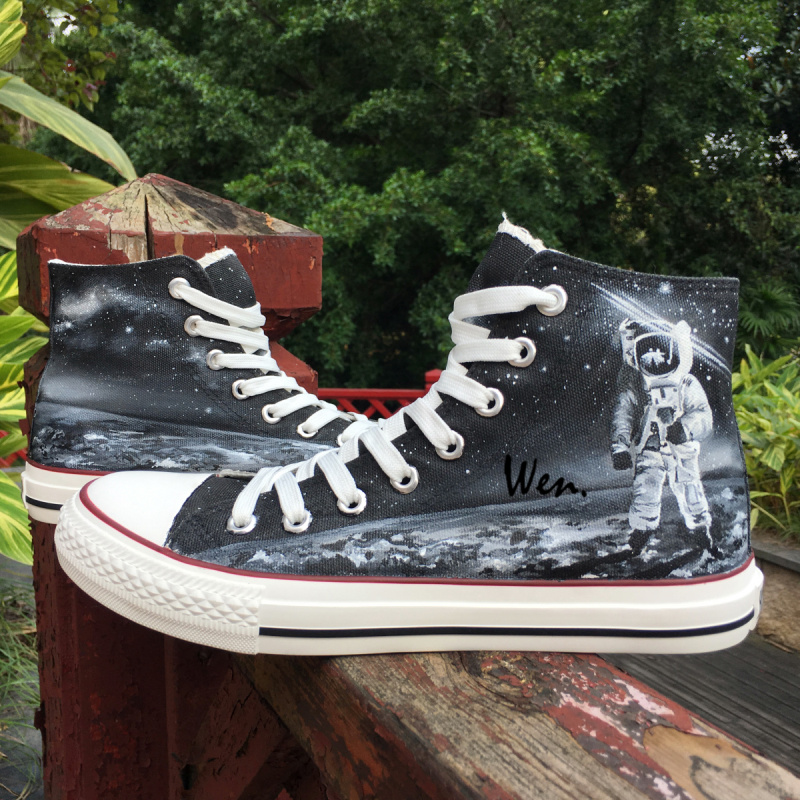 Wen Design Custom Astronaut Outer Space Moon Galaxy Hand Painted Black Canvas Sneakers High Top Adults Unisex Athletic Shoes