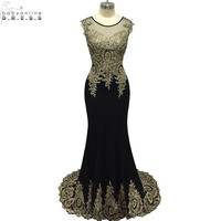 Robe de Soiree Longue Gold Lace Appliques Mermaid Evening Dress Dubai Arabic Evening Gowns Formal Evening Party Dress