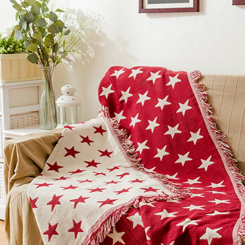 Double sides use blue stars cotton blanket,130*160cm durable wearable comforter, red stars sofa cover, pet blankets ,table cloth