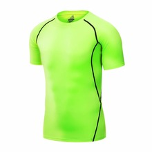 2016 New Mens Short Sleeve Compression Shirt Base Layers Under Tops Skins Gear Wear T-Shirts Jersey Tee Tops