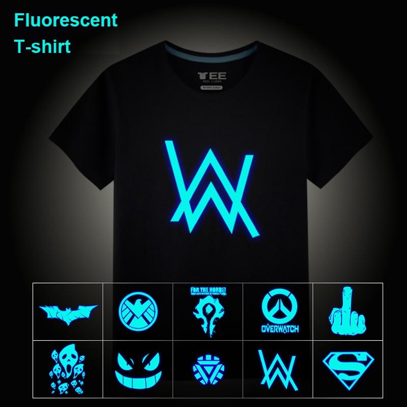 2018 Summer Neon Fluorescent Alan Walker Music Ghost Printed Casual Unisex Children Cotton T Shirt Tops Vest Tees Men T-shirt