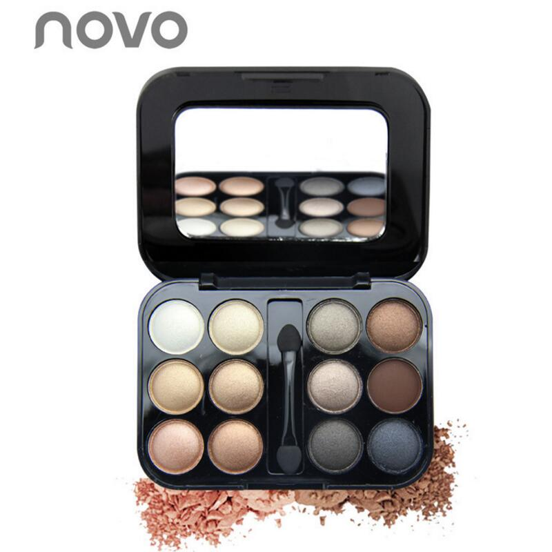 NOVO 12 Color Eye Shadow Palette Pearlescent or Matte Dazzle Colour EyeShadow with Mirror Waterproof Eye Makeup Cosmetics