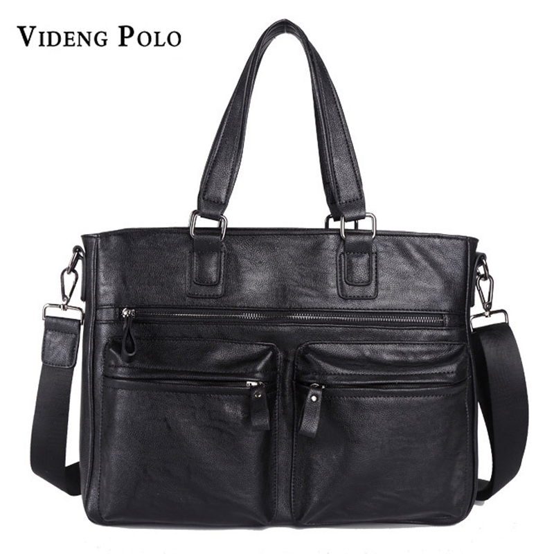 VIDENG POLO New Stylish Simplicity Men Leather Handbag Mens Shoulder Crossbody Messenger Bags Casual Male Briefcase Tote Bag