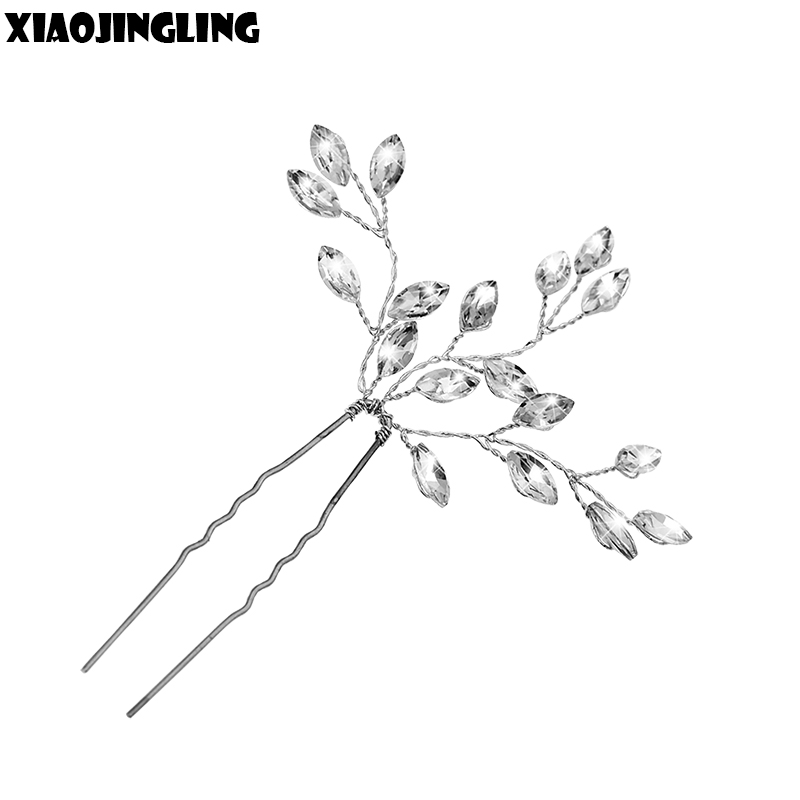 XIAOJINGLING Women Crystal Hair Pins Leaves Headwear Bridal Bridesmaid Hair Clips Wedding Party Noble Hair Jewelry Accessories