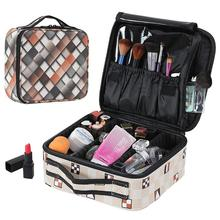 Women Plaid Professional Rremovable Partition Cosmetic Make Up Makeup Bag Bags kosmetyczka Case Organizer Neceser Mujer Travel