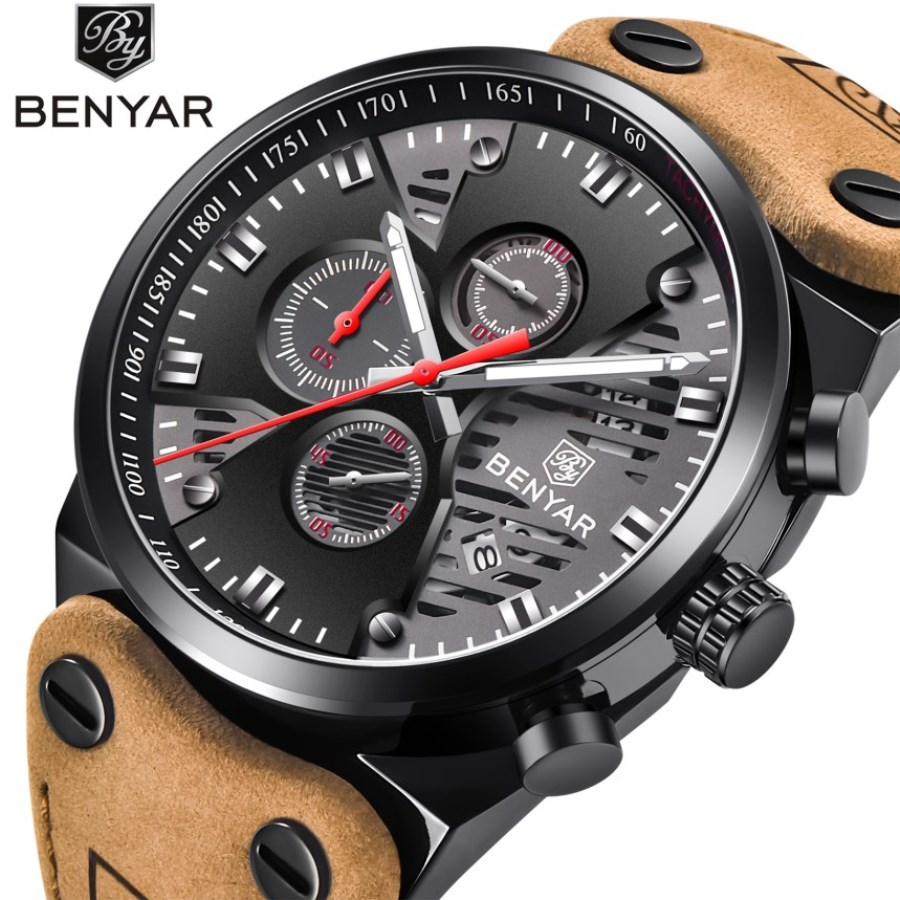 Men's Watches Benyar Fashion Sports Quartz-watch Leather Brand Men Watches Multi-function Wrist watch Male Chronograph Clock high quality outdoor sports leisure fashion men watches multi functional quartz wrist watch creative