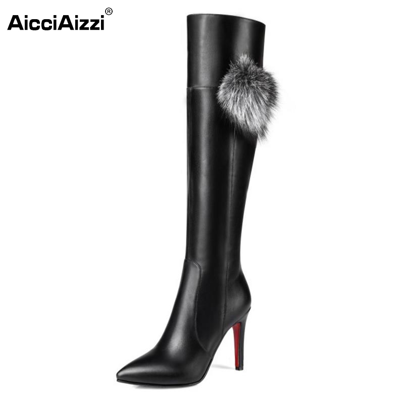 Woman Thin High Heel Over Knee Long Boots Fashion Women Pointed Toe Botines Mujer Warm Fur Winter Heels Shoes Size 33-43 hot fashion spring over the knee boots sweet buckle denim women boots sexy pointed toe thin high heels shoes woman zapatos mujer