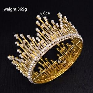 Image 3 - Vintage Gold Silver Luxury Luxury Rhinestone เพิร์ลขนาดใหญ่ Tiara Queen รอบ Big Crown สำหรับเจ้าสาวงานแต่งงานอุปกรณ์เสริมเครื่องประดับ