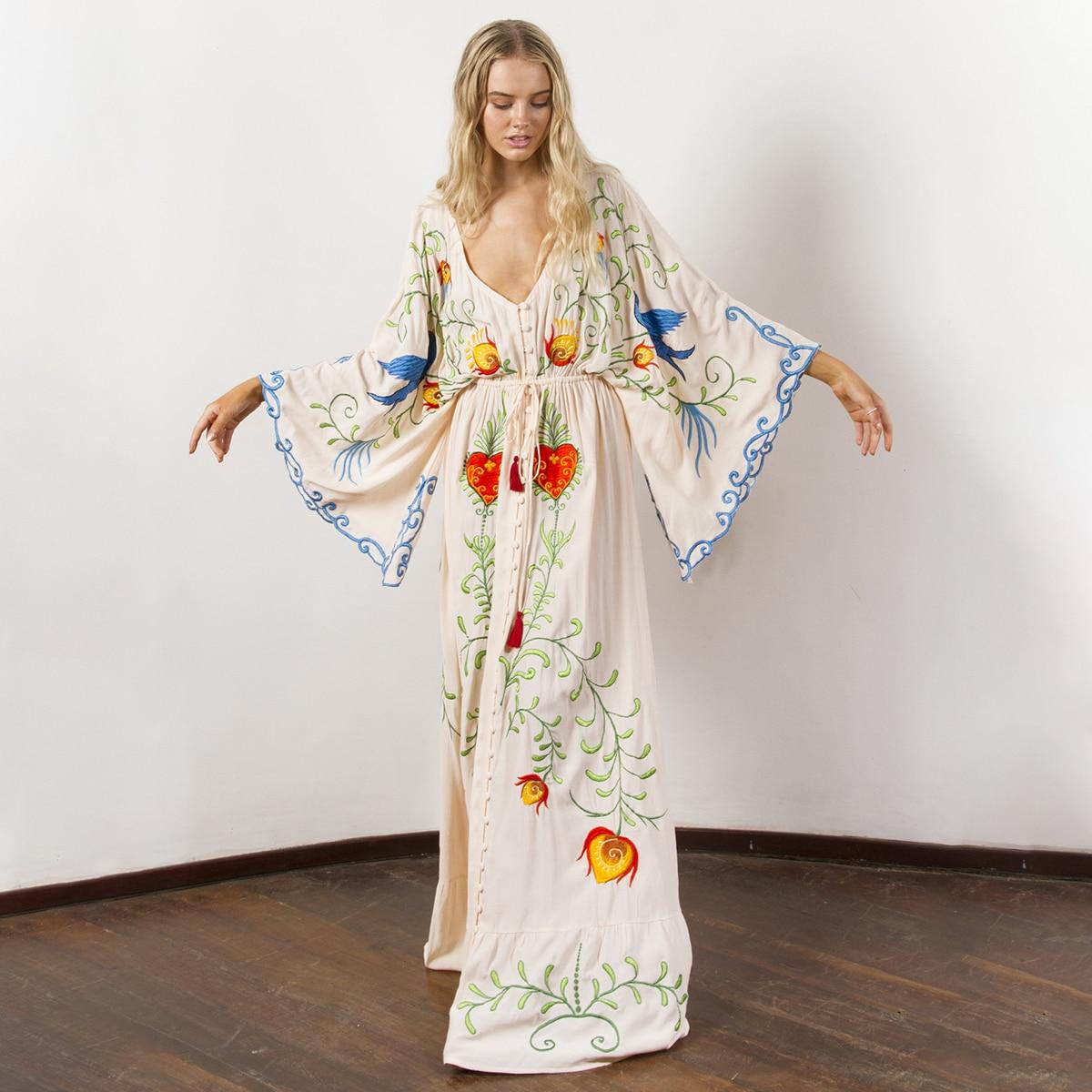 c1735460f3 Hippie En 2019 Pour Vrac Robes blanc Col Maxi Robe Plage Broderie Boho  Femmes Flare Longues ...