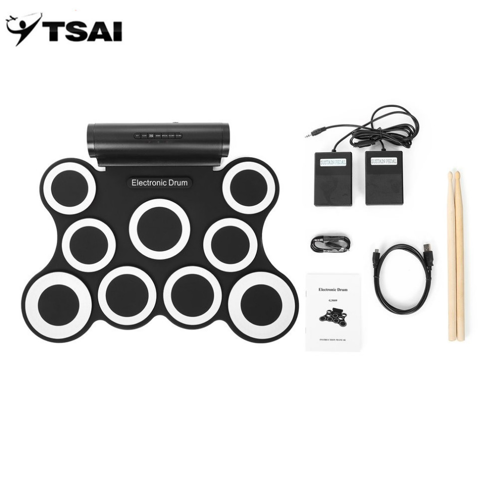 Electronic Drum Roll Up Set Kits 3009 9 Pads TSAI Built-in Speakers With Foot Pedals Drumsticks USB Cable For Practice Popular support usb midi colorful portable roll up electronic drum set 9 silicon pads built in speakers with drumsticks foot pedals