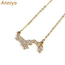 Anniyo Panama Map Necklace With Rhinestone for Women Girls Silver/Gold Color Jewelry of Chains Jewellery #070206