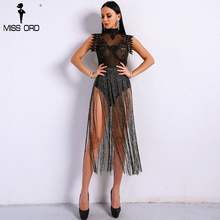 Missord 2019 Sexy Spring and Summer Tassel  Playsuit Lace See Through Glitter Tassel  Bodysuit  FT8901