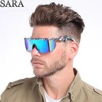SARA Солнцезащитные очки Мужские Винтажные спортивные очки итальянские дизайнерские зеркальные солнцезащитные очки с покрытием мужские сол...