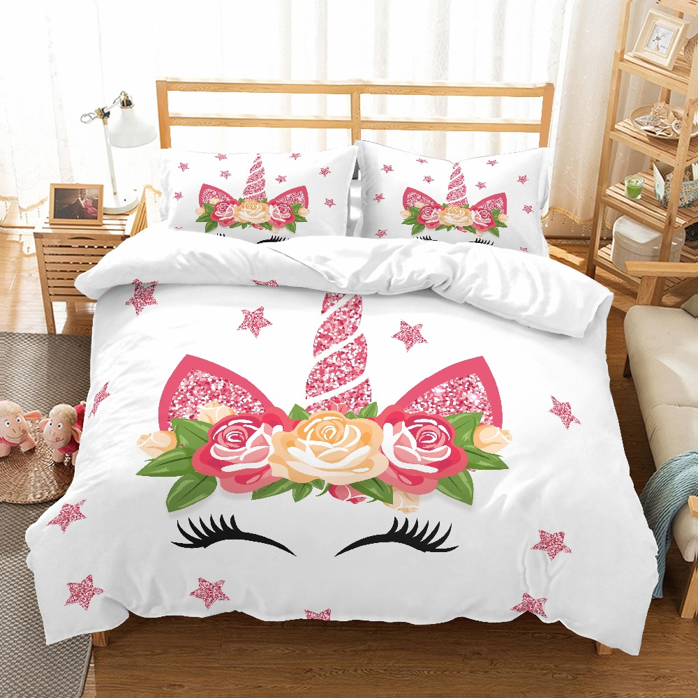 MUSOLEI 3D Duvet Cover Set unicorn rose flowers pink shiny stars smilling kids'/lovers Presents/gifts Bed Sheet Twin queen king