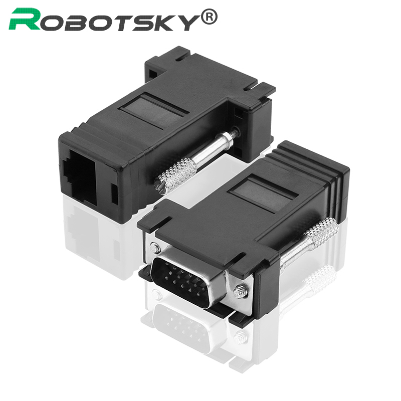 2pcs RJ45 to VGA Extender Male to LAN CAT5 CAT6 RJ45 Network Ethernet Cable Female Adapter Computer Extra Switch Converter vga extender female male to lan cat5 cat5e 6 rj45 ethernet female adapter male to female vga to rj45 converter connector