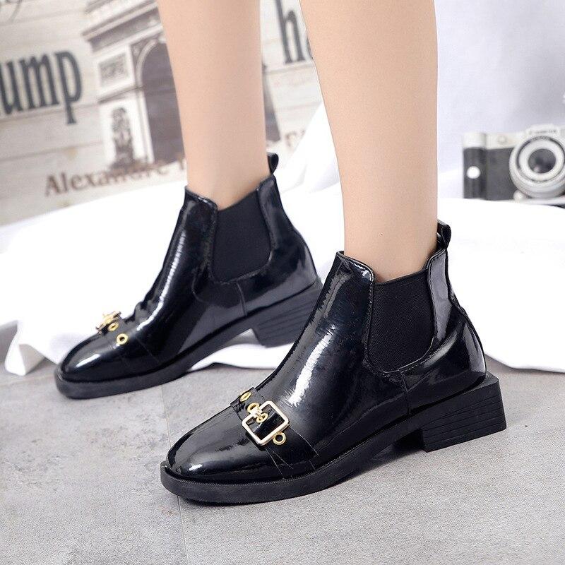 Sólido invierno Mujeres Botas Moda Otoño Square La Pu 2018 Zapatos Heels Metal De Negro Chelsea Med Toe Decoración IqXy8
