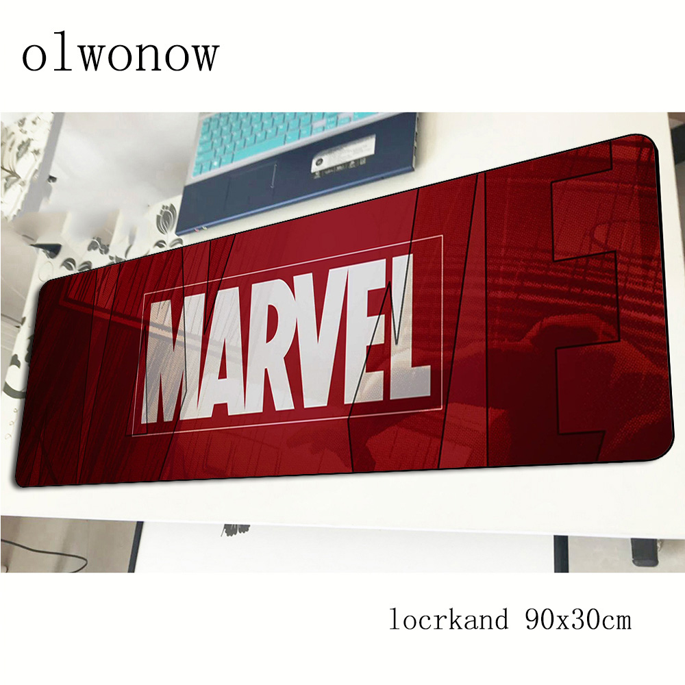 Marvel comics logotipo almofada mouse computador mause almofada 90x30cm padmouse profissional mousepad gadget ergonômico esteiras de escritório