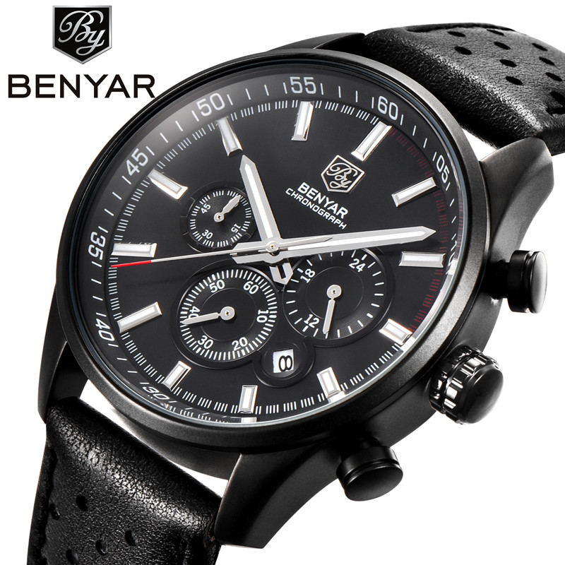 2017 New BENYAR Fashion Men Sports Watches Men's Quartz Hour Date Clock Mens Leather Strap Military Army Waterproof Wrist watch weide new men quartz casual watch army military sports watch waterproof back light men watches alarm clock multiple time zone