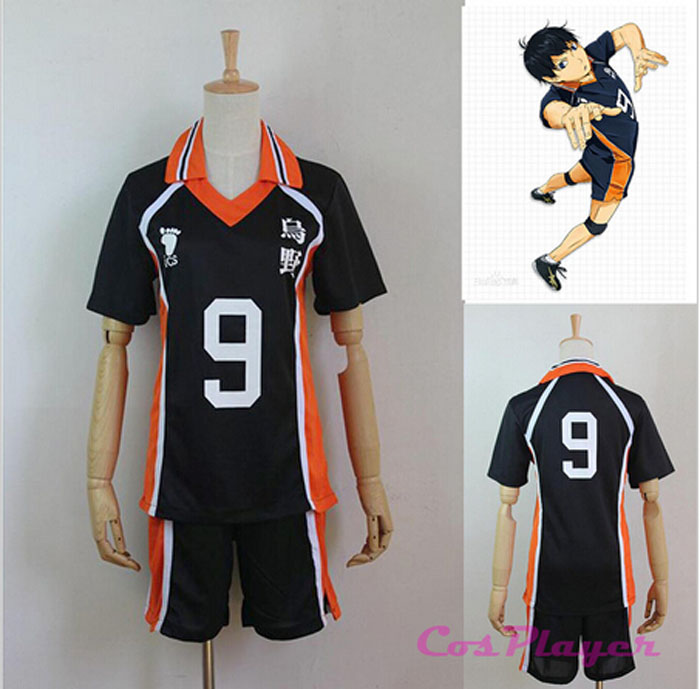 Karasuno High School Club Haikyuu!! Cosplay Costume No.9 Tobio Kageyama Jerseys Uniform Sets Free Shipping