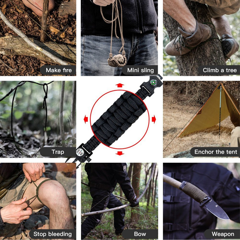 Multifunction Outdoor Survival Paracord Bracelet Camping Equipment Emergency Multi tool Survival Braided Pulseras Rescue Rope Outdoor Bracelets Parachute Cord Paracord (14)_