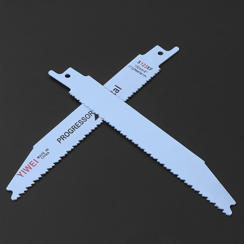 2pcs Durable BIM S123XF 152mm 6'' Reciprocating Saw Blade For Cutting Metal Wood