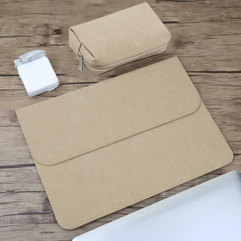 Matowy PU rękaw wodoodporna torba na laptopa 14 15.6 dla Macbook Xiaomi Air 13 Case 11 12 nowy 2018 pro 15 torby kobiety mężczyźni okładka