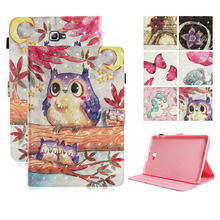 LUCKBUY For Samsung Galaxy Tab A 10.1 T580 T585 Folio Cases Funda tablet 3D Printed Cute Owl Unicorn Butterfly PU Leather Cover
