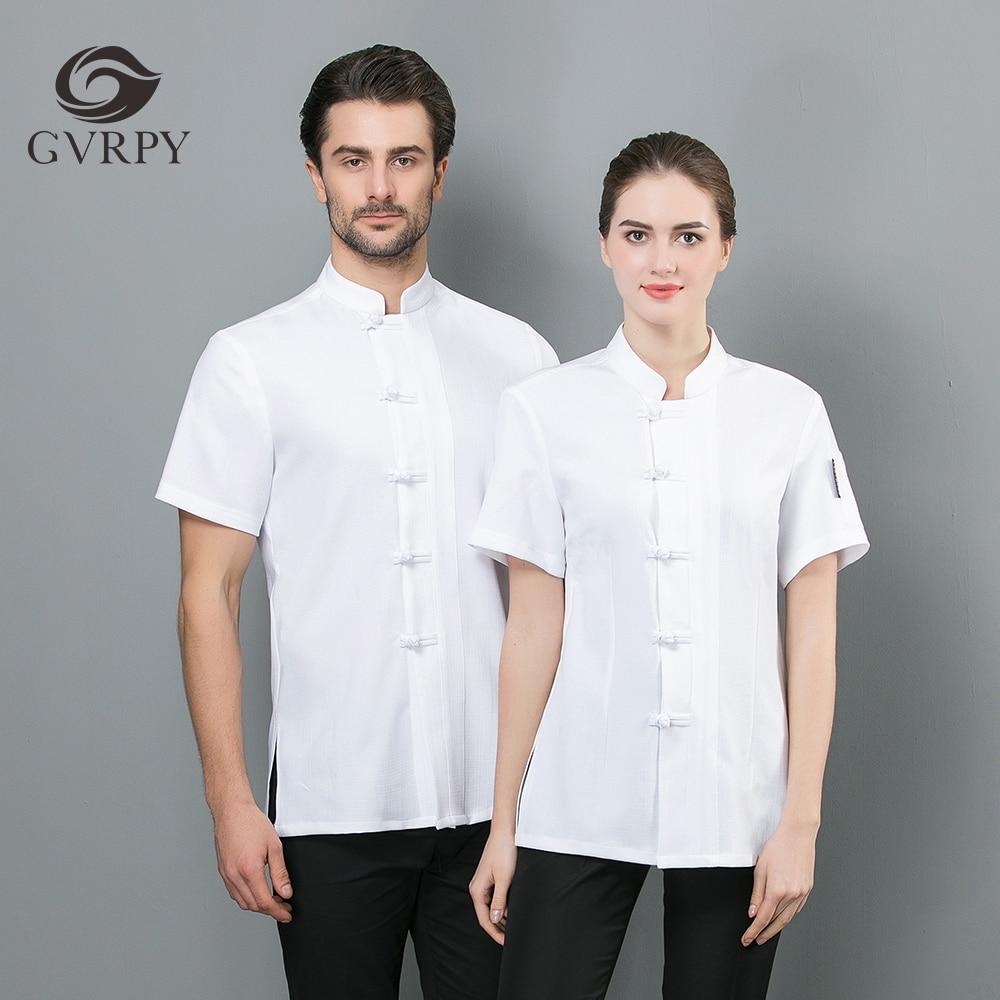 2019 Summer Unisex White Black Chef Jacket Barber Chef Shirt Restaurant Kitchen Solid Color Short Sleeve Linen Work Uniform