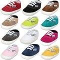 Novo design da marca sapatas de Lona Lace-up Mocassins Bebê Bebe Do Bebê Com Sola de Borracha Não-slip Calçado Sneakers Berço bebê sapatos meninos