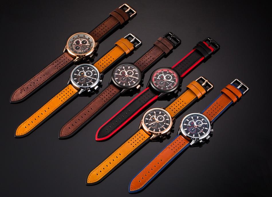 Image 5 - Curren relógios masculinos marca superior relógio de luxo dos  homens militar couro esportes relógios à prova dwaterproof água quartzo  relógios de pulso masculinoclock brandclocks maleclock waterproof -