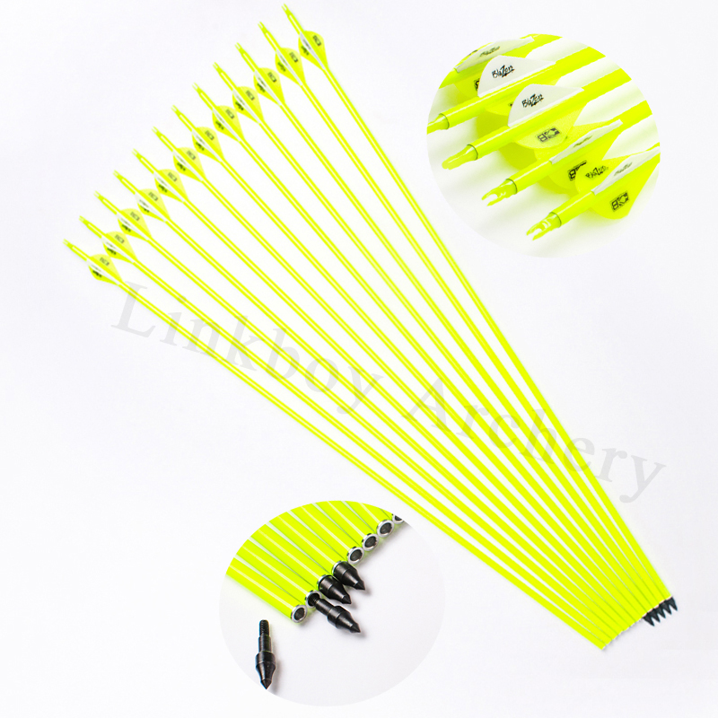 6/12pcs Linkboy Archery Mixed Carbon Arrows 30inch ID6.2mm 2inch Vanes Points Bohning Nock for Compound Bow Hunting