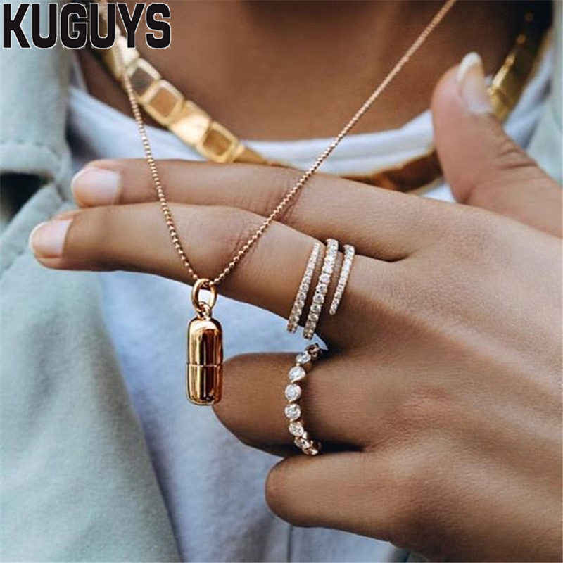 KUGUYS Trendy Jewelry Alloy Gold Silver Pill Pendant Necklace for Women Vintage Chain Necklaces Cool Girl Rock Punk Accessories