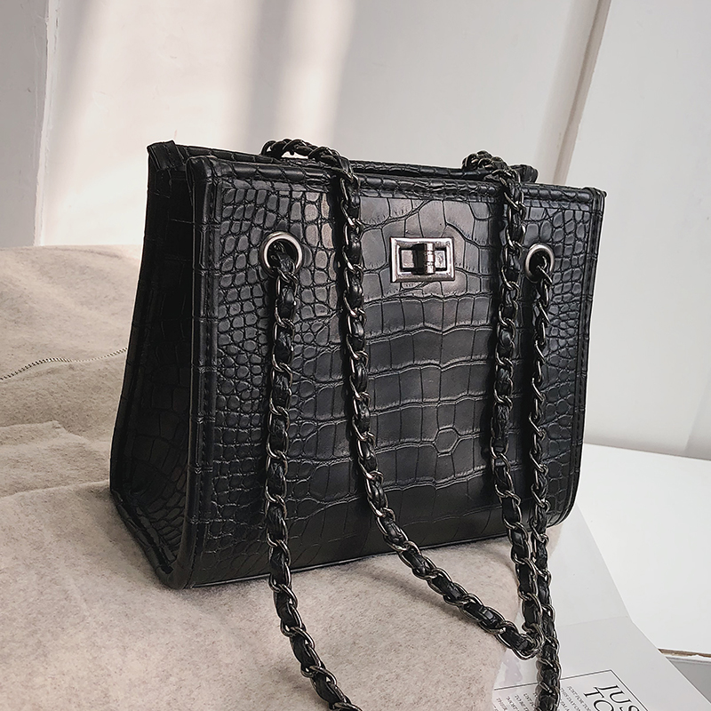 Retro Fashion Big Tote Bag 2019 New Quality PU Leather Women's Designer Handbag Crocodile Pattern Chain Shoulder Messenger Bags